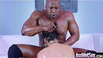 गर्म तेल से सना हुआ गुदा सेक्स टेप